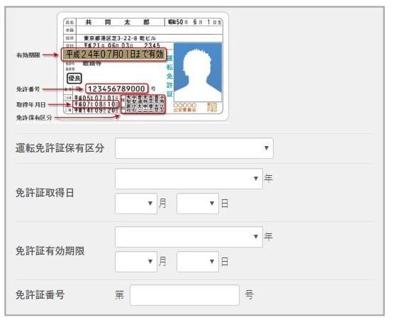 オリックスカーシェアWeb入会免許証情報